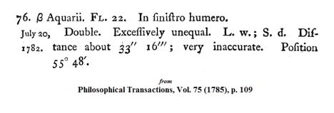 Wm. Herschel on Beta Aqr