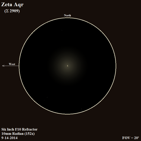 In a smaller scope, and when Zeta (ζ) is lower in the sky, I've caught flashes of lemon and orange from these two stars.   The night I caught it for this sketch, Zeta was parked on the meridian, so I captured it at its highest point in the sky.   This time, the primary and secondary boasted an attractive white-gold hue, which was just slightly more distinctive in the northern member of the pair. (East & west reversed to match the refractor view, click on the sketch for an improved version).