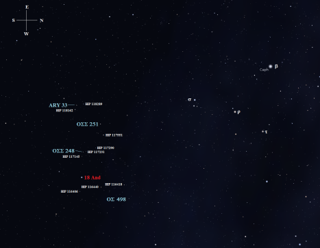 Stellarium screen image with labels added, click on the chart for an easier to use version.