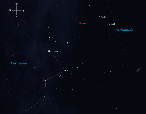 Stellarium screen image with labels added, click on the chart to enlarge it.
