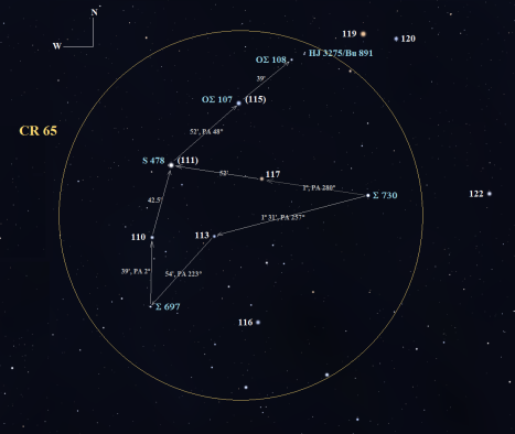 Stellarium screen image, labels added, click to enlarge: