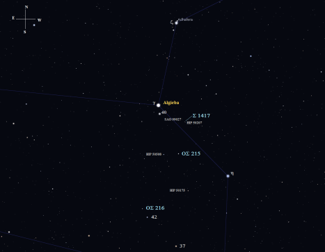Since Algieba is near the three stars on our itinerary, we'll start there and use it for a jumping off point to get to Σ 1417. (Stellarium screen image with labels added, click for better view).
