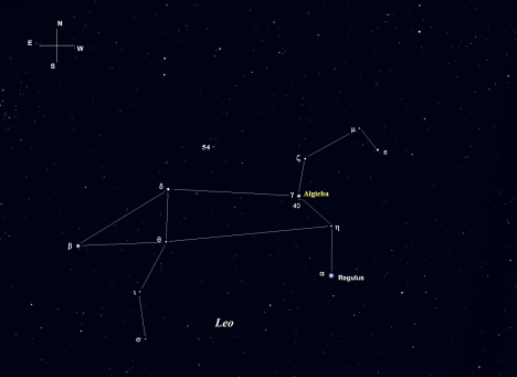 Stellarium screen image with labels added, click to expand the view.