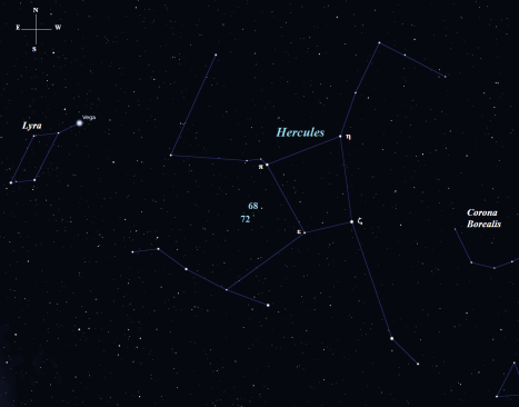 Stellarium screen image with labels added, click to enlarge the image.