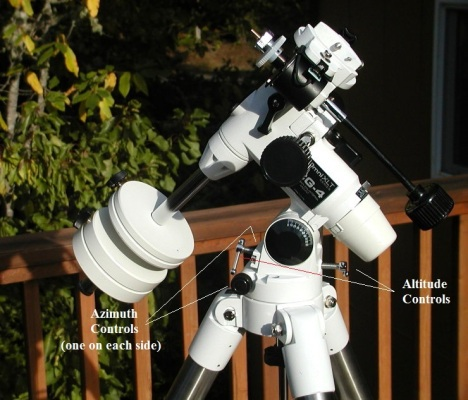 This is a Celestron CG4 mount. The altitude and azimuth controls are unlocked when one of the control devices is loosened, and locked when the two opposite devices are turned so they're pressed against one another. Other mounts, such as the CG5, have similar controls. Click for a larger view.
