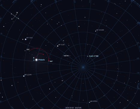 Stellarium screen shot with labels added, click to enlarge.