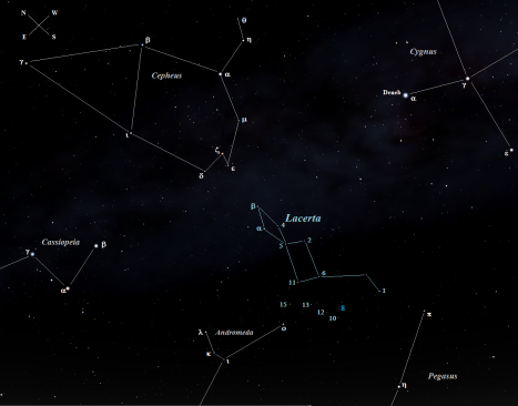 Stellarium screen image with labels added, click to enlarge.