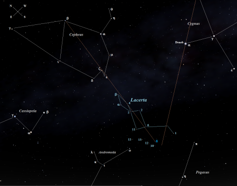 You can also draw a line from Delta (δ) Cygni (just out of sight at the upper right of the chart) through Deneb, which will just miss the southern edge of 8 Lacerate. (Stellarium screen image with labels added, click to enlarge).