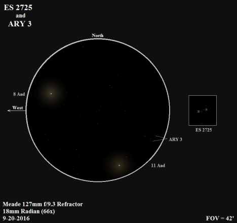 ES 2725 is the pair of stars at the very center of this view, tilted at about a forty-five degree angle (and identified in the box at the right). ARY 3 is the fainter and wider pair at the southeast edge of the view (18' southeast of ES 2725 and on a line with BU 717 and ES 2725), tilted more noticeably to the north than the ES 2725 pair. (East and west reversed to match the refractor view, click on the sketch to bring it to life).