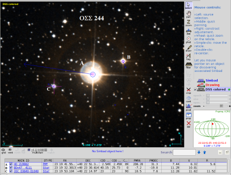 It's true – a picture is worth a thousand words! Simbad's proper motion data is at the bottom of the image in the columns labeled PMRA and PMDEC, and the super-imposed arrows on the individual stars are proportional to that data. Aladin image with Simbad data and additional labels, click to enlarge.